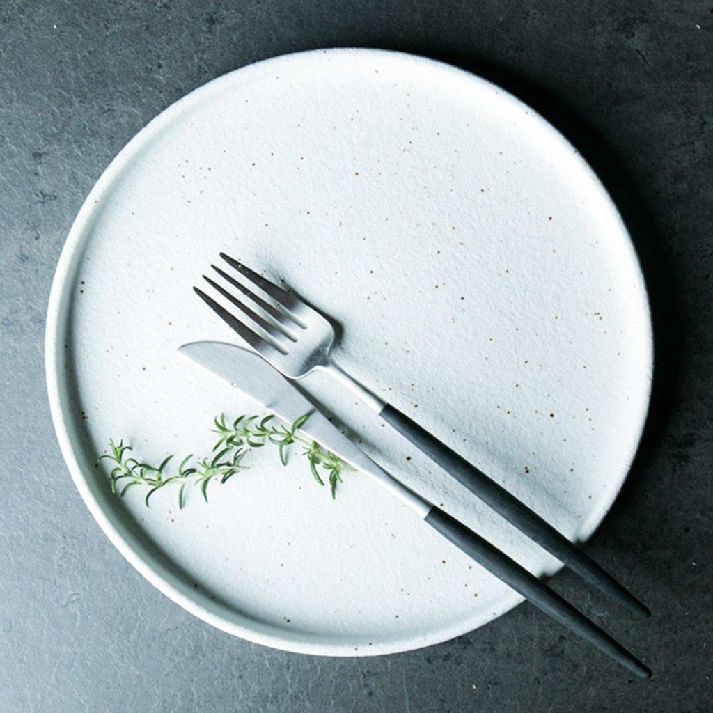 He Xiang Ya Shop Ceramic white steak plate Flat plate Breakfast plate Dessert plate Dish round tableware Fruit salad dish Pasta dish