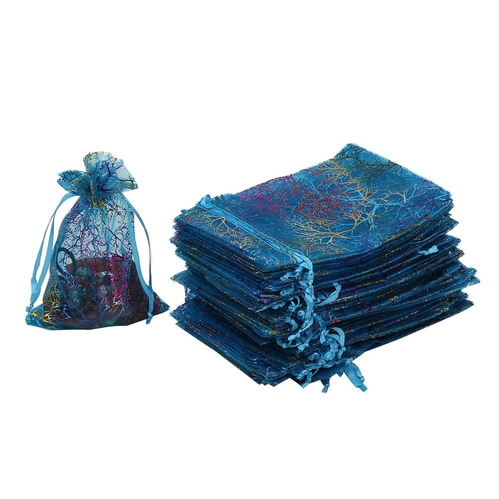"""HRX Package Organza Drawstring Bags,100pcs 4""""x 6"""" Coralline Blue Organza Gift Bags for Jewelry Candy Bags and Wedding Party Gifts Pouches"""