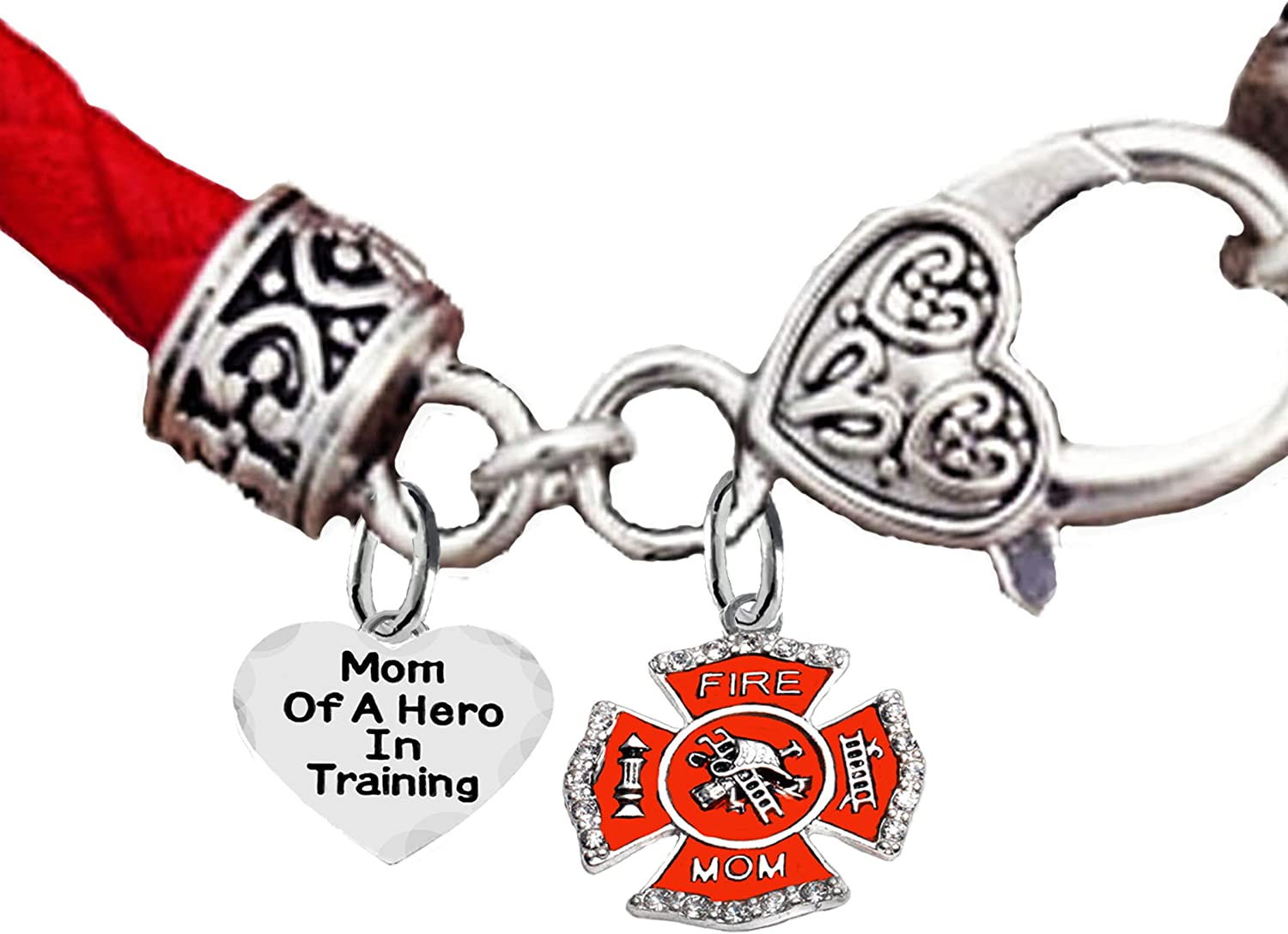 Cardinali Jewelry Firefighter On A Antique Wheat Chain Bracelet Hypoallergenic Safe-Nickel Fire Department Charm Lead and Cadmium Free Wife of A Hero in Training