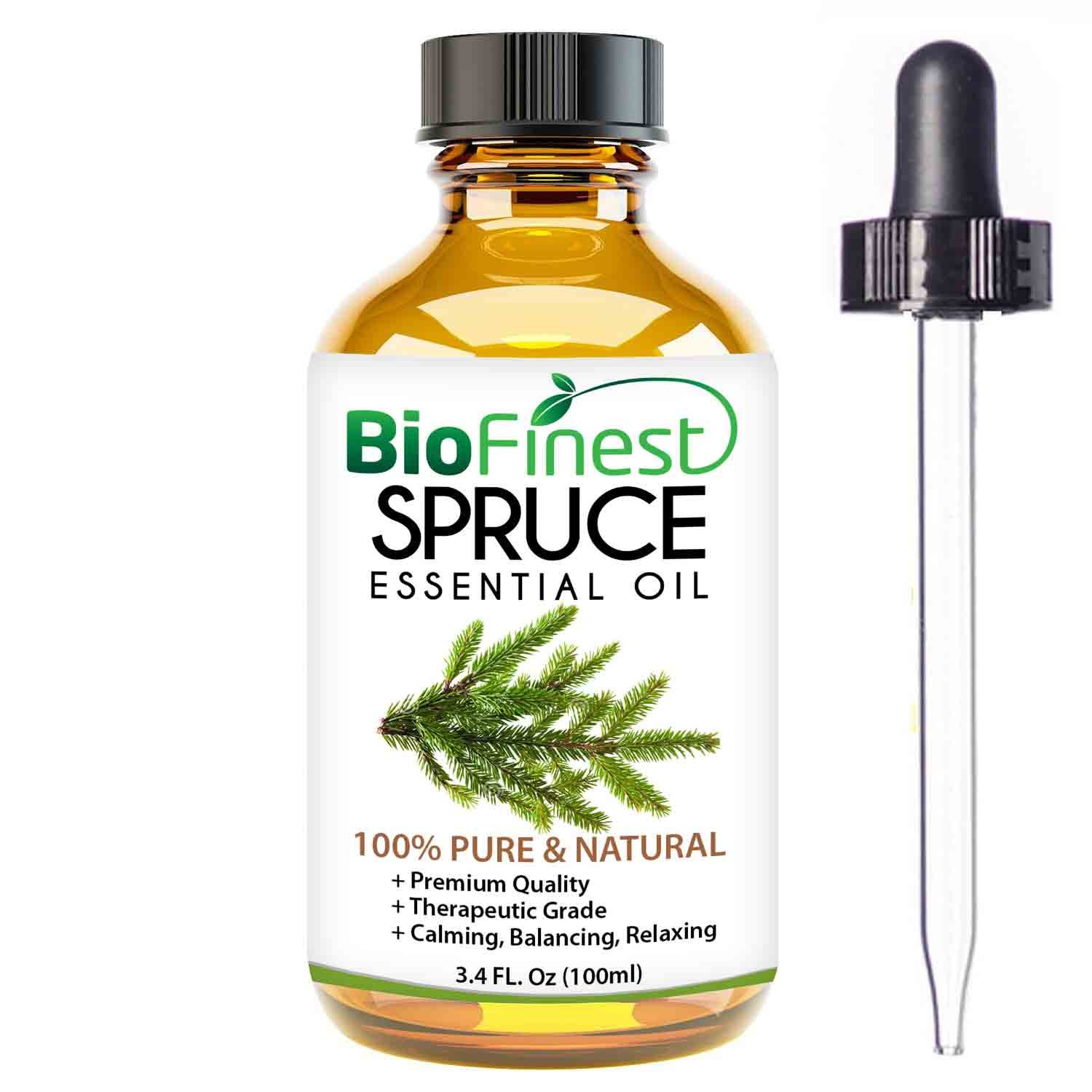 Biofinest Spruce Essential Oil - 100% Pure Organic Therapeutic Grade - Best for Aromatherapy, Skin and Hair Care, Ease Sleep Stress Bad Mood Fatigue Muscle Joint Pain - Free E-Book & Dropper (100ml) by BioFinest (Image #1)