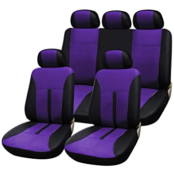 Purple Car Seat Covers Full Set Universal Front Pair 3 Rear