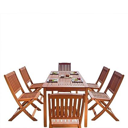 Vifah V98SET4 Outdoor Wood 7 Piece Dining Set, Natural Wood Finish, 59 By