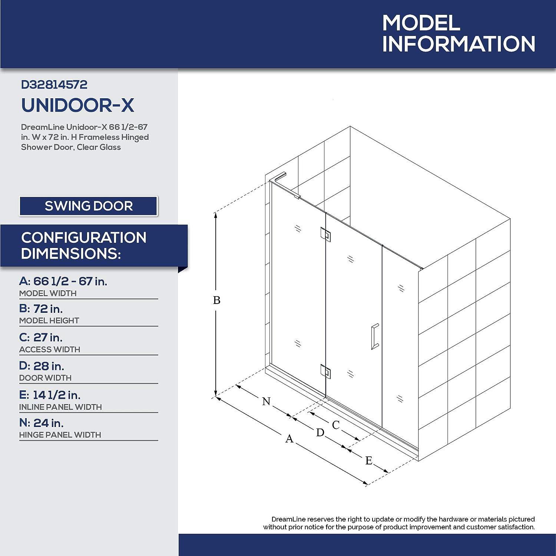 Dreamline Unidoor X 66 1 2 67 In W X 72 In H Frameless Hinged Shower Door In Satin Black D32814572l 09 Amazon Com