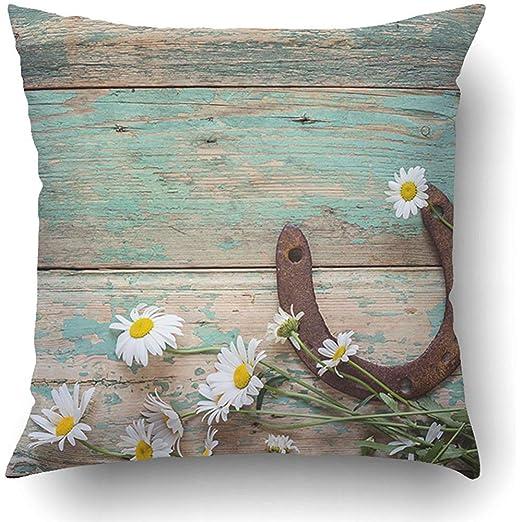Fundas de almohada rústicas con herradura oxidada y ...