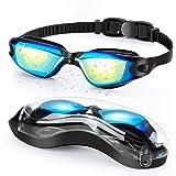 Portzon Swimming Goggles, Silicone Nose Bridge, Clear Vision, UV Protection, Anti-Fog