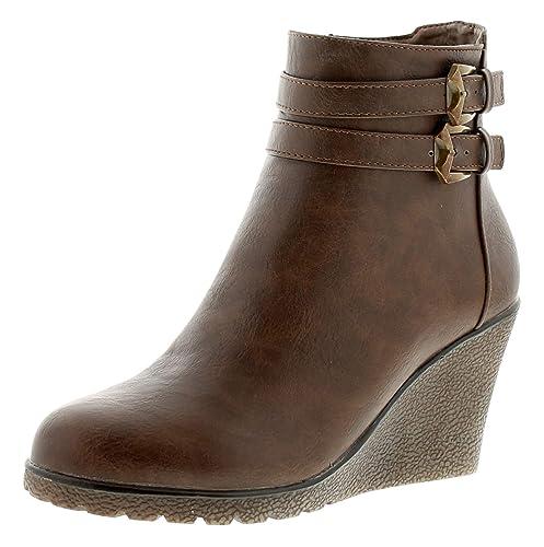 NUEVO de Mujer / mujer marrón Apache ANDREA Botines De Cuña Con Cremallera - Marrón - GB tallas de 3-9 - Marron, 42: Amazon.es: Zapatos y complementos