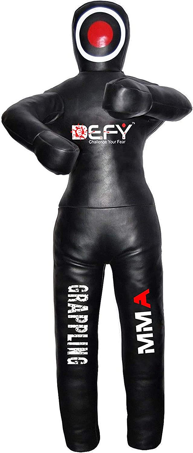 DEFY Brazilian Jiu Jitsu Grappling Dummy MMA Wrestling Judo Standing Position-Made from Durable Heavy Duty Canvas Material-Dummy for Multiple Drills Black UNFILLED