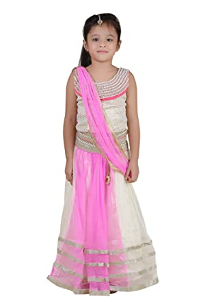 0a33090b5e Qeboo Girl's Lehenga Choli & Dupatta Set (Indian Ethnic Wear): Amazon.in:  Clothing & Accessories