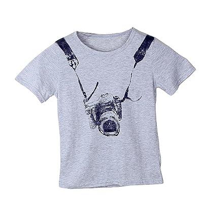 Comcrib Summer Kids Boys Girls T-Shirt Dog Pattern Cotton Round Collar Breathable Grey Short Sleeve
