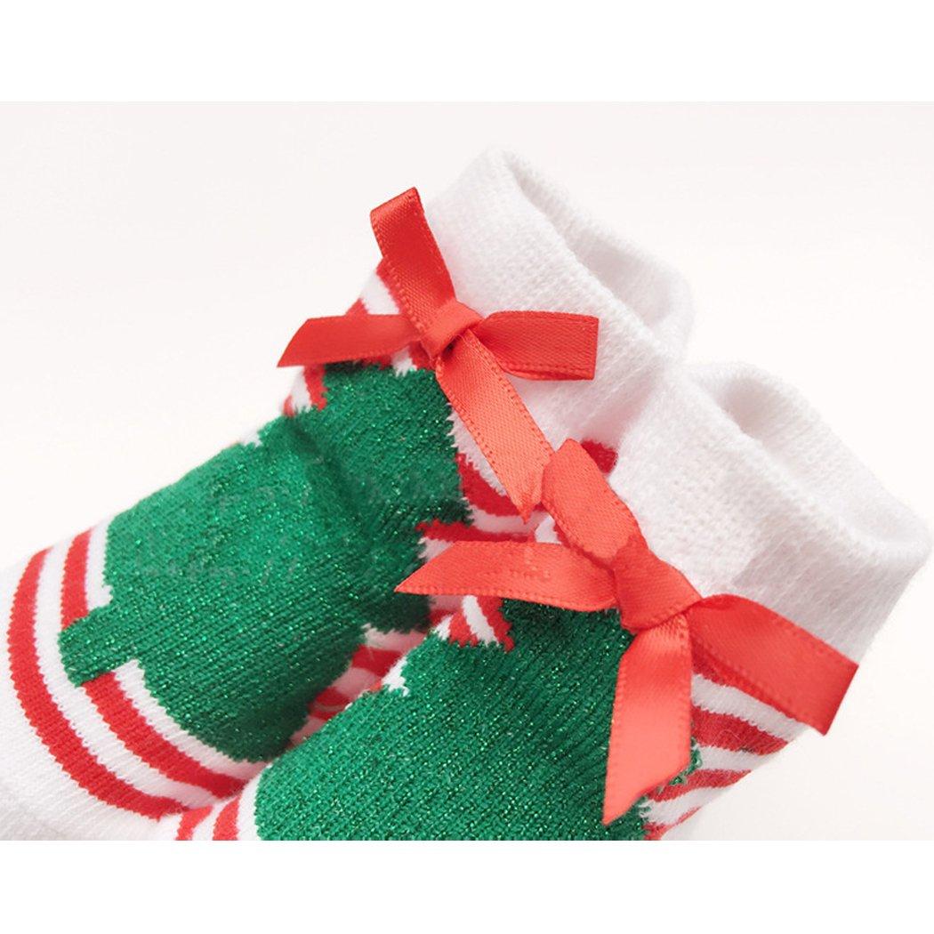 Stripes Christmas Tree Sun Baby Christmas Socks Baby Warm Cotton Socks 0-12 Months