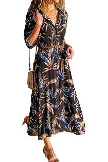 48fb69bd55544 HPYLove Women's V Neck 4/3 Sleeve Dresses Bohemian Floral Swing Beach Tank  Maxi Dress