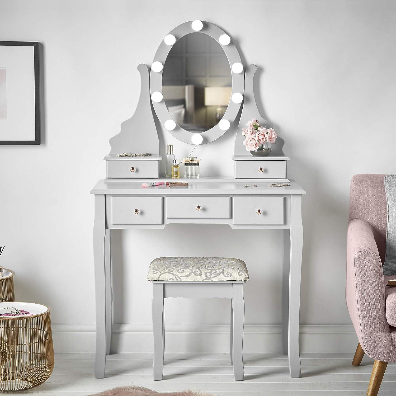 CARME Coiffeuse avec miroir LED lumi/ères 5 tiroirs tabouret de maquillage organiseur de bijoux de chambre /à coucher Bois dense Ruby Rozanna Gris 138 x 80 x 40 cm Hollywood