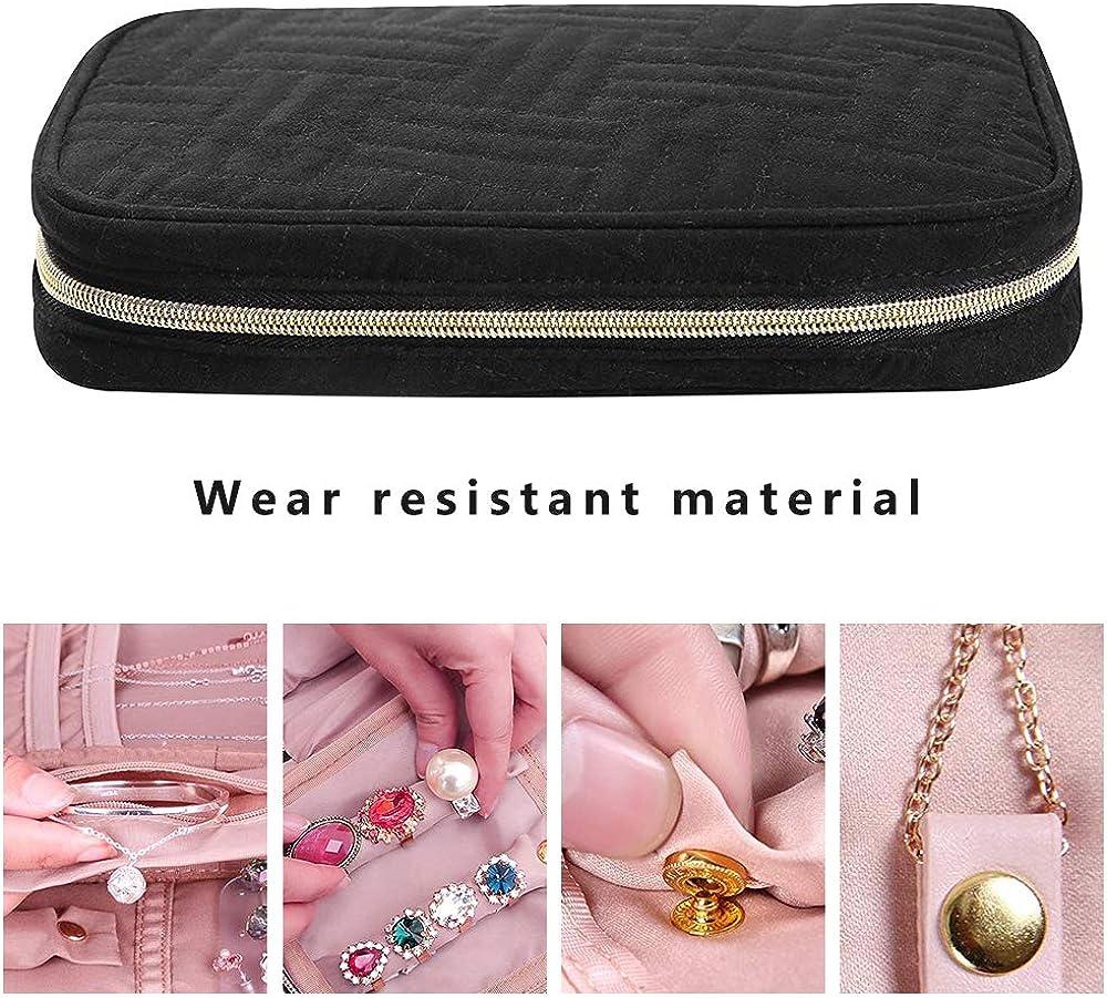 Laelr Travel Jewellery Organizer Bag colliers /étui de transport pour bagues bracelets et boucles doreilles Etui de rangement pour bijoux avec poign/ée