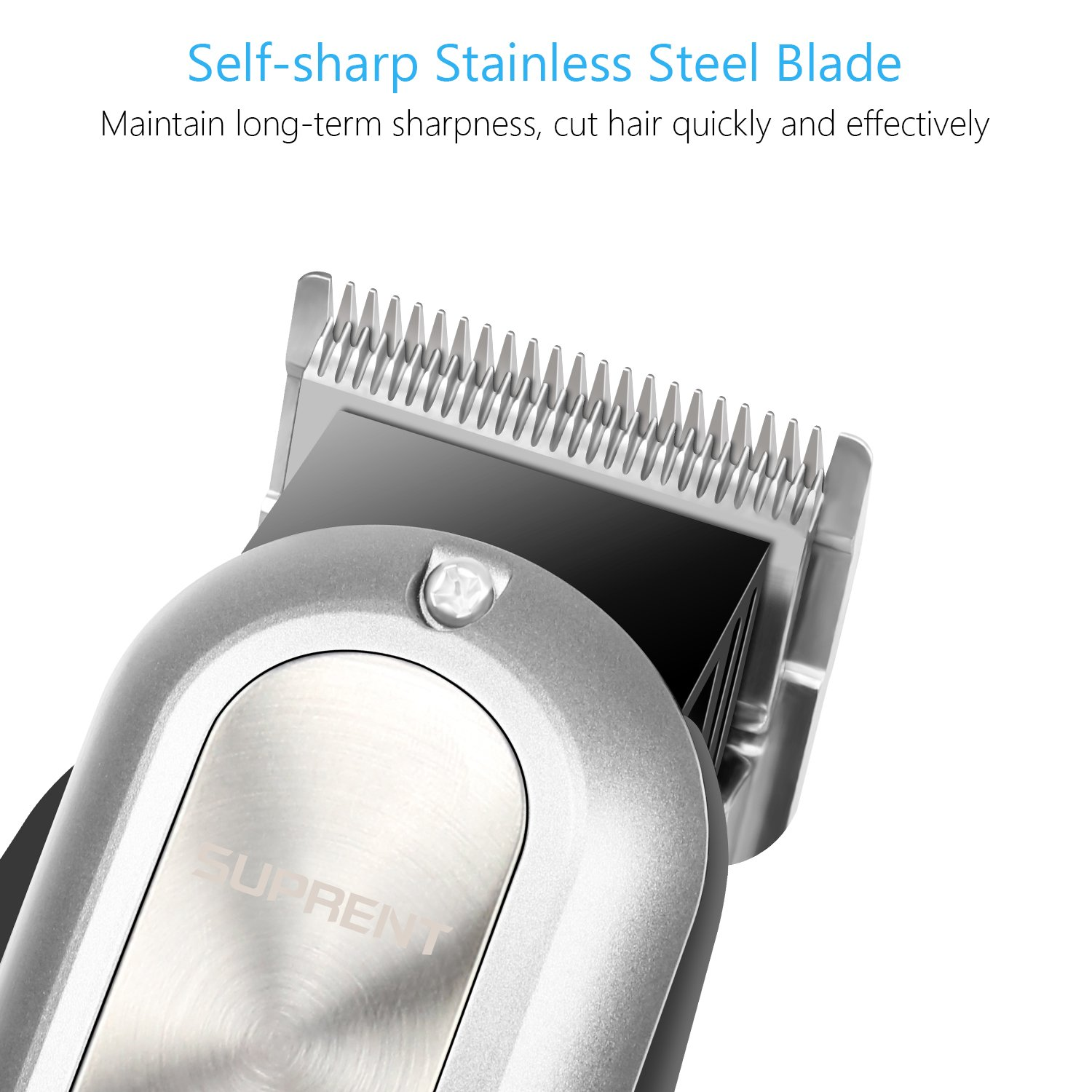 SUPRENT Cordless Corded Hair Clippers for Men Professional Hair Cutting Kit with 2000mAh Lithium Ion, Titanium Ceramic Blade, Hair Trimmer with Lock-In Length Silver