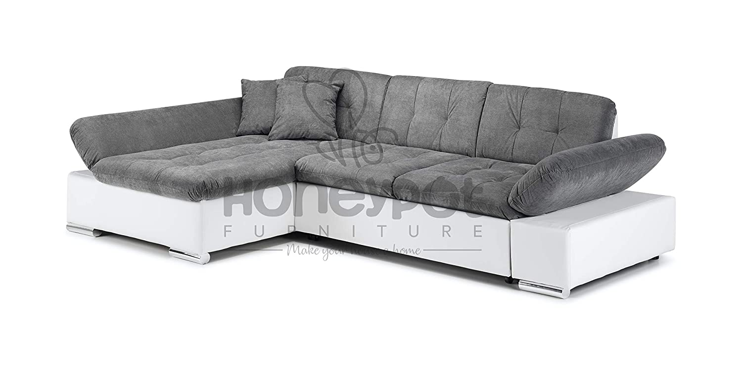 Remarkable Honeypot Malvi Corner Sofa Bed With Storage White Grey Left Hand Onthecornerstone Fun Painted Chair Ideas Images Onthecornerstoneorg