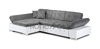 Honeypot Malvi Corner Sofa Bed with storage White/Grey Left Hand
