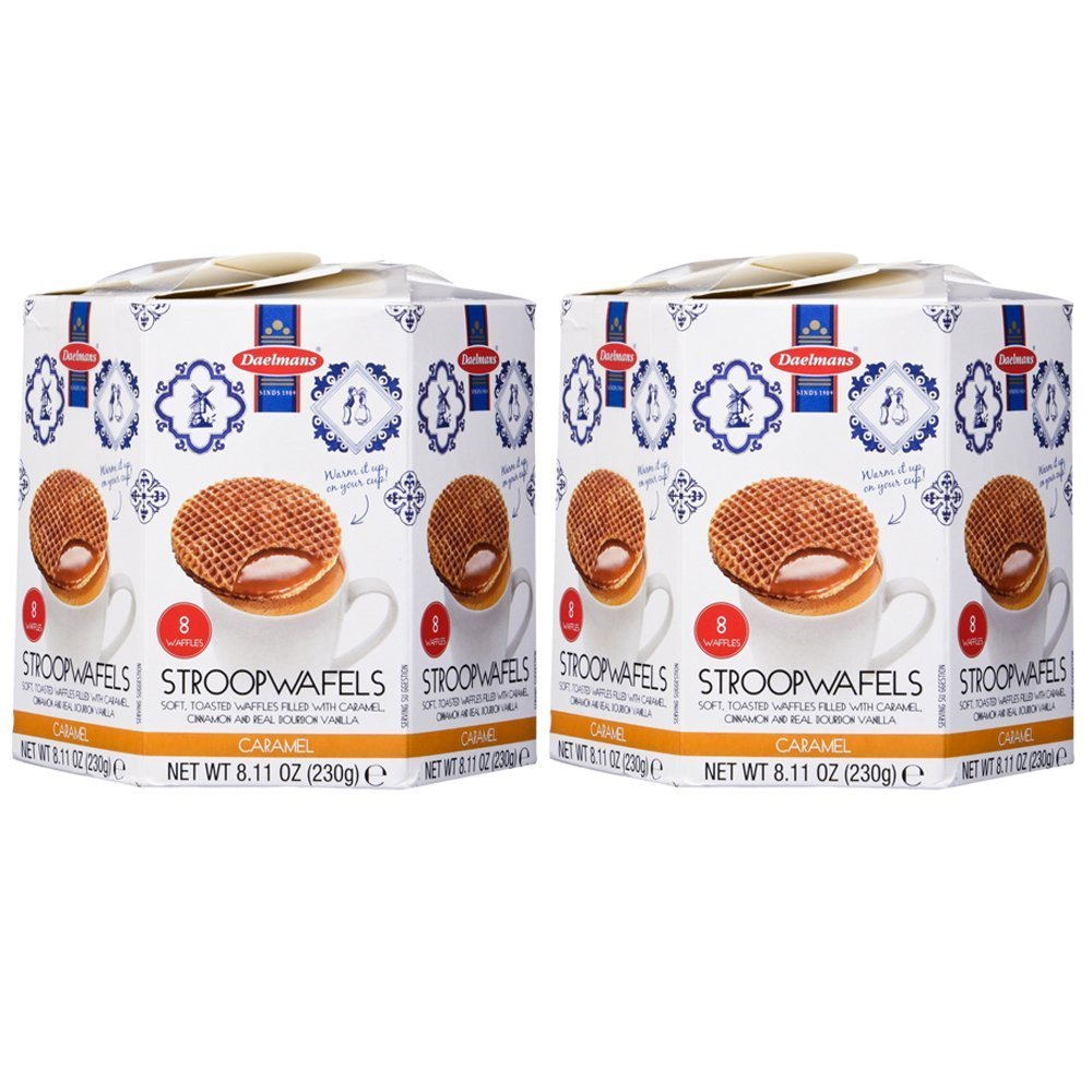DAELMANS Stroopwafels, Dutch Waffles Soft Toasted, 2 Pack Assortment, Caramel, Office Snack, Kosher Dairy, Authentic Made In Holland, 8 Stroopwafels Per Box (2 Pack)
