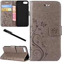 """iPhone 7 / iPhone 8 Case, Urvoix Card Holder Stand Smooth Hand Feel PU Leather Wallet Case - Embossed Flower Butterfly Flip Cover for 4.7"""" Version iPhone7 / iPhone8(NOT for 7Plus / 8 Plus) Grey"""