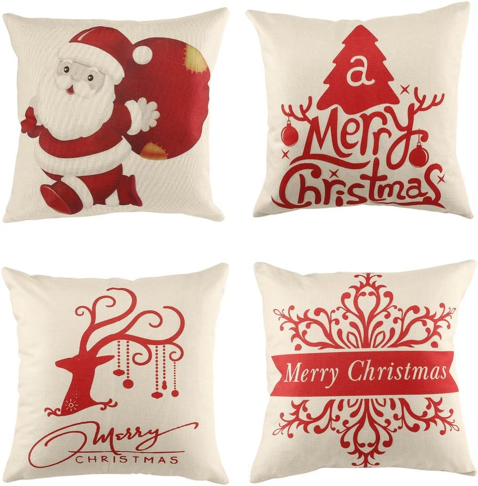 U Kiss Christmas Pillow Cases, 4 Pack