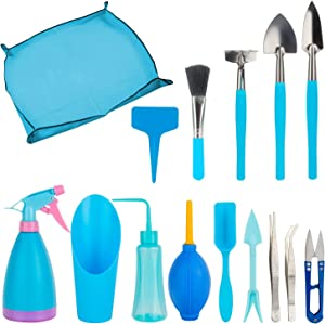 LepoHome 19 PCS Mini Garden Hand Transplanting Succulent Tools Set with 1 PCS Garden Kneelers Work Cloth Anti Dirty Gardening Transplanting Pot Pad for Indoor Garden Plant Care - Blue
