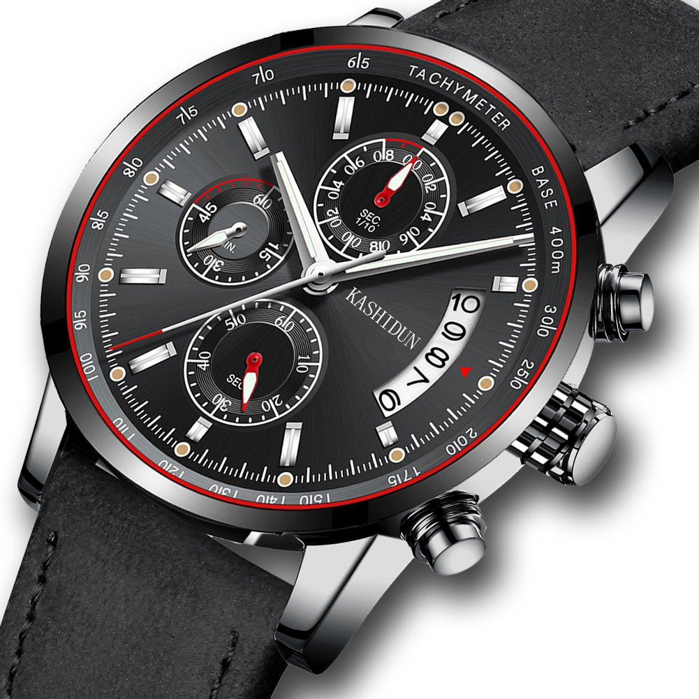 Watches Mens Sports Chronograph Waterproof Analog Quartz Watch With Black Leather Band Fashion Watch by Kashidun