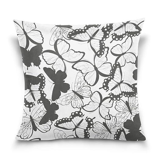 VinMea Funda de cojín con diseño de Mariposas en Blanco y ...