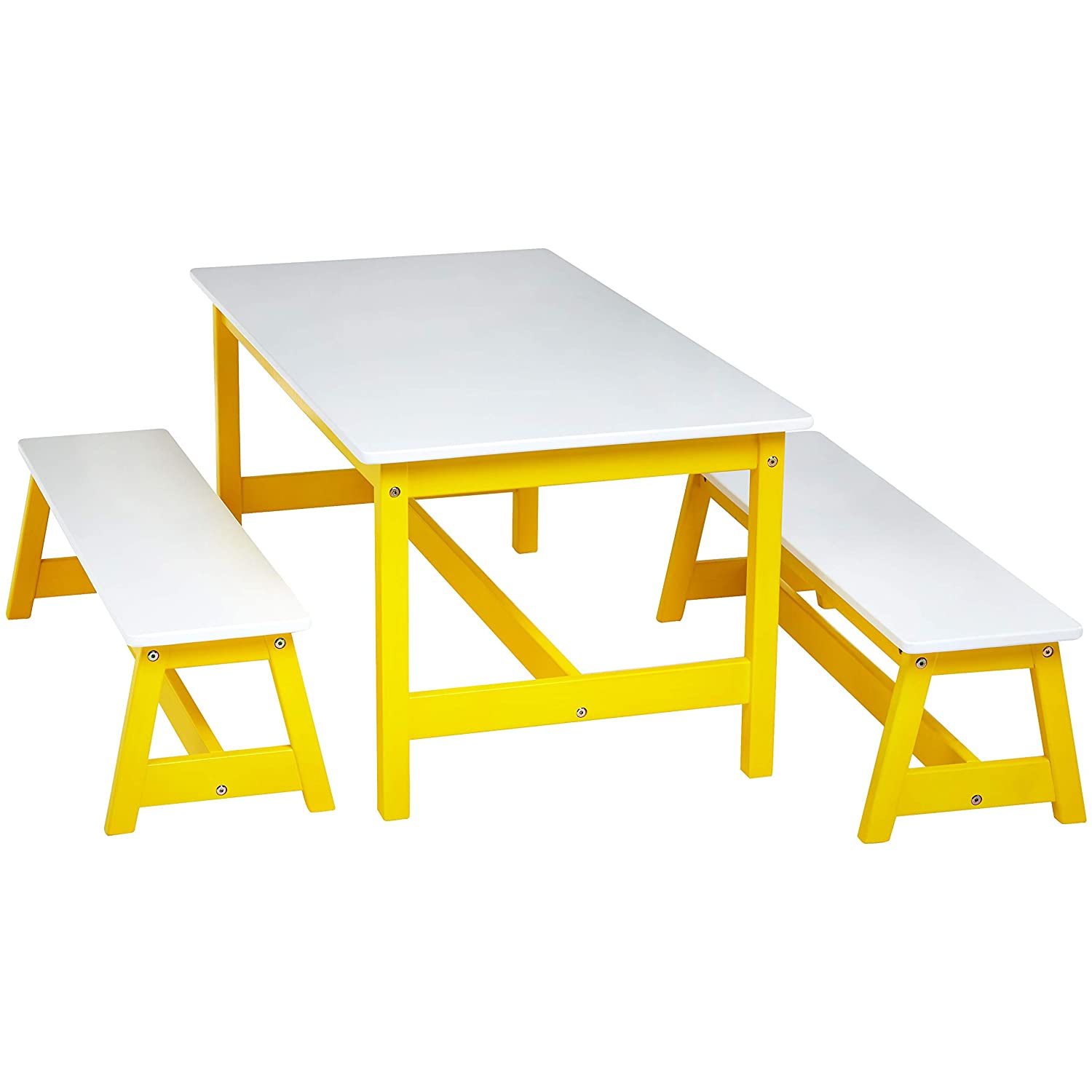 AmazonBasics Indoor Kids Table and Bench Set, White