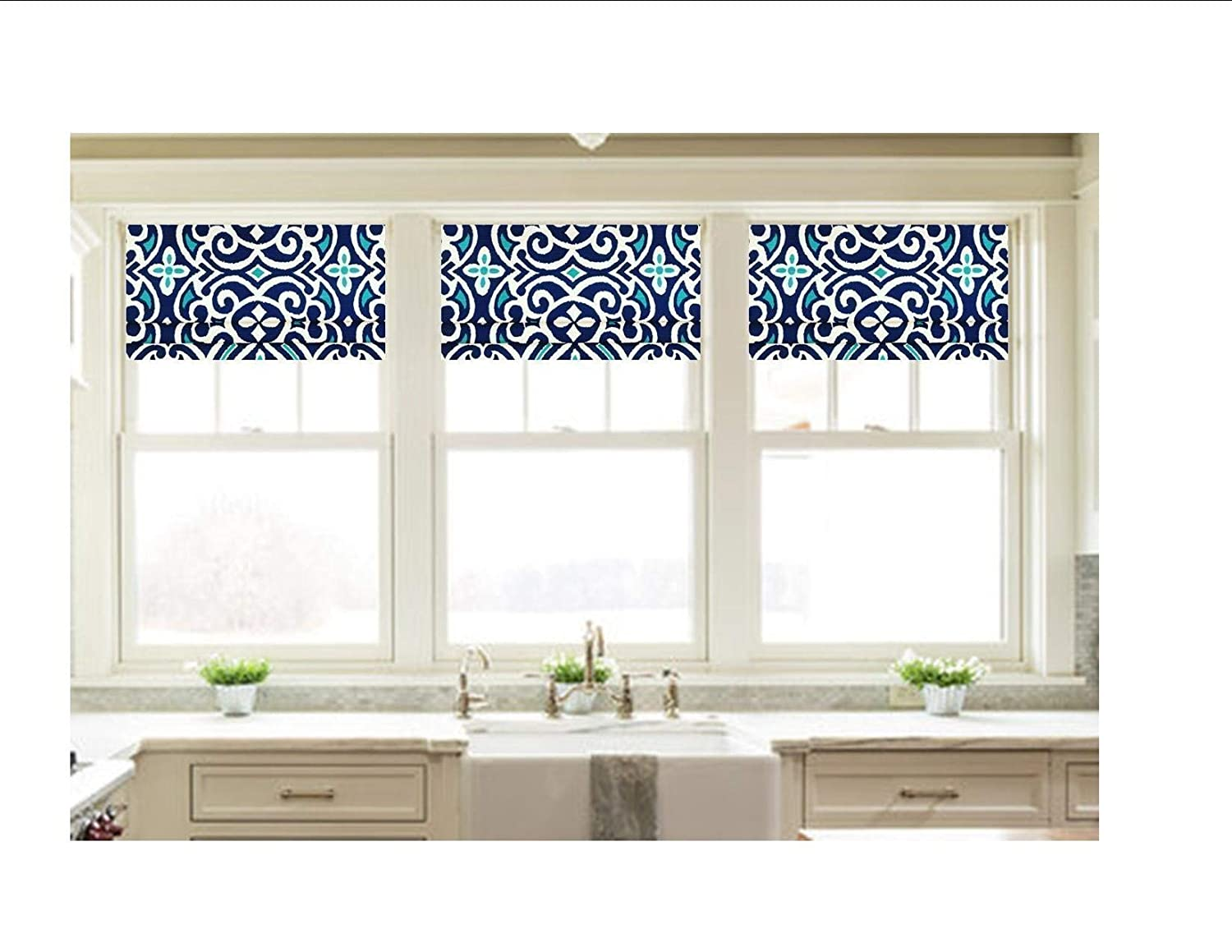 Fully Lined Faux Roman Shade Valance Custom Made in Blue and Aqua Damask Print by Robert Allen 100/% Cotton Ready to Hang