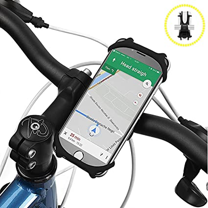 quality design 5bf15 d8ea6 Bike Phone Mount, Amtake Universal Adjustable Silicone Bicycle Motorcycle  Handlebar Phone Holder for Cycling GPS/Map/Time/Music, Fit for iPhone ...