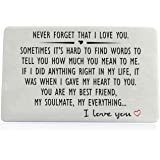 for Men or Women - Never Forget That I Love You, Engraved Wallet Insert for Boyfriend Husband Him, Birthday Wedding Deployment Gifts Cards for Couples