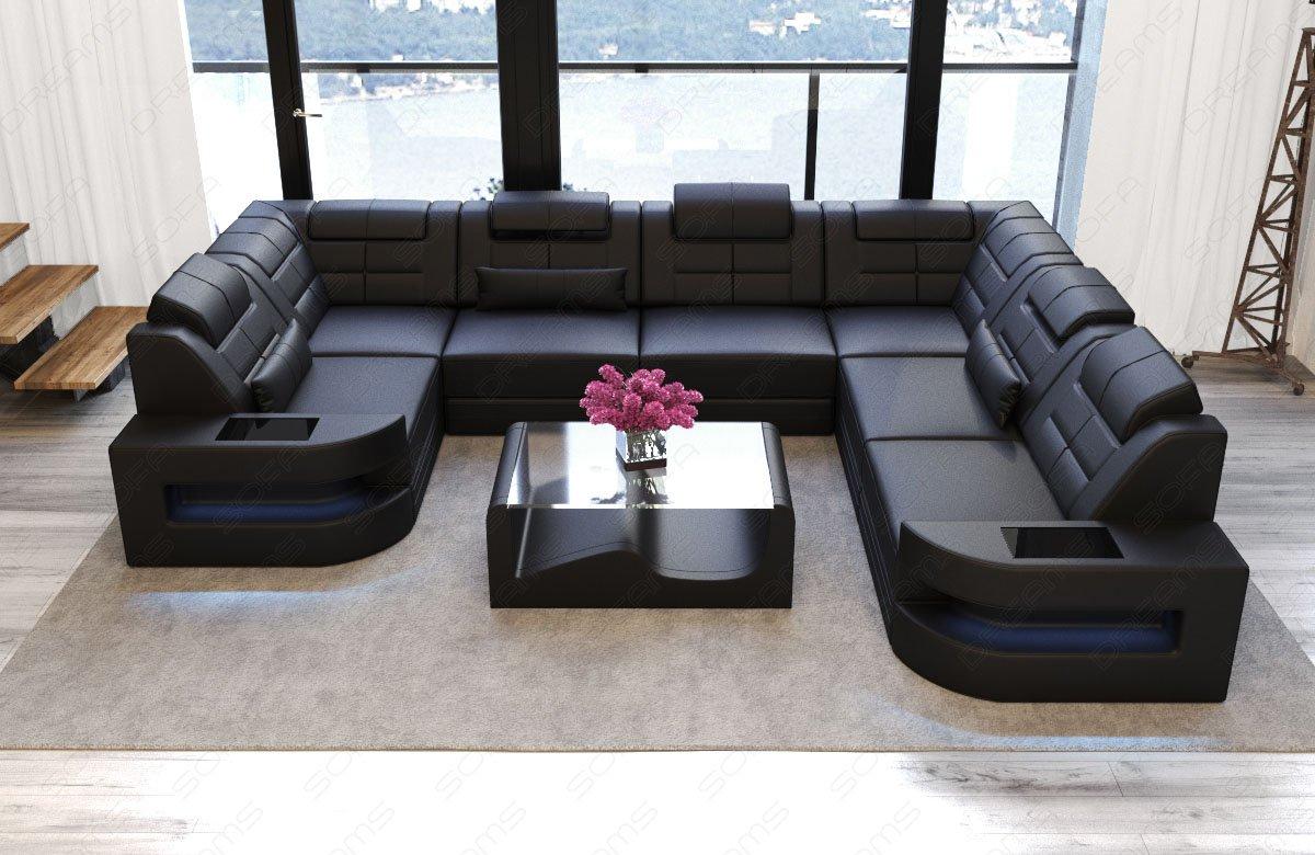 Sofa Dreams Piel Salón Paisaje como U Forma Negro: Amazon.es ...