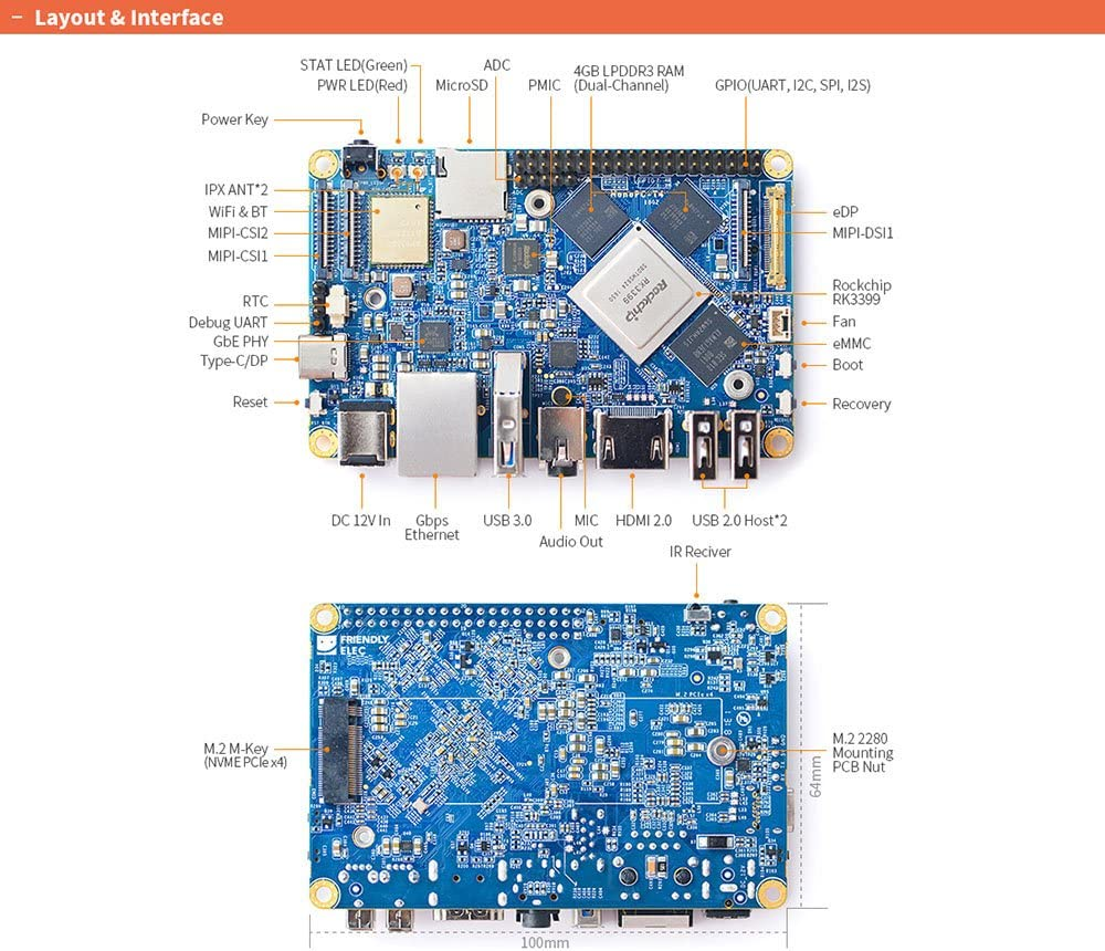 Lubuntu 16.04 Support Android 7.1.2 youyeetoo NanoPC-T4 LCD with Rockchip RK3399 /& Dual-Channel 4GB LPDDR3 and 16GB eMMC 5.1 Flash /& Native Gigabit Ethernet /& Dual Antenna Interface
