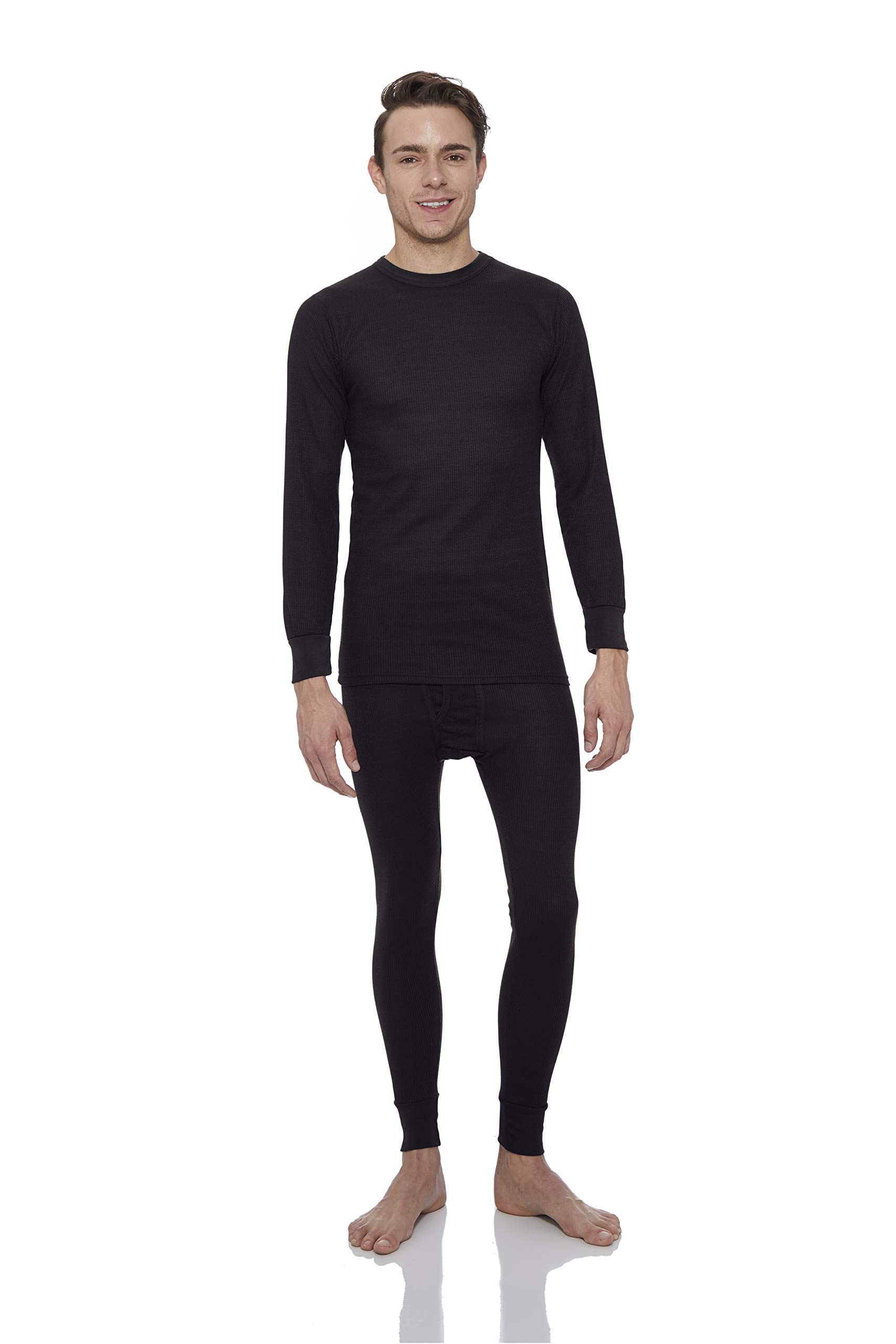 Rocky Thermal Underwear for Men Waffle Thermals Men's Base Layer Long John Set Black by Rocky