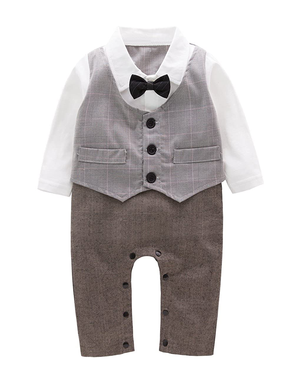 May's Baby Toddler Boys Tuxedo Paild Bowtie Gentleman Faux Vest Onesie