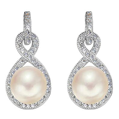 Clearine Women's 925 Sterling Silver Wedding Bridal CZ Ivory Color Freshwater Cultured Pearl Infinity Dangle Earrings Clear M4ry5DSAH