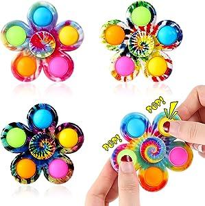 Effacera Fidget Spinner Pop Toys 4 Pack, Tie-Dye Popper Pop Bubble Spinner Set, Party Favor Sensory Fidget Bulk Pack Toys, Popping Hand Spinners, Stress Relief for Kids