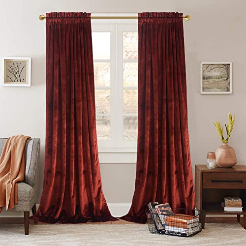 Roslynwood Velvet Luxurious Rust Red Elegant Curtains Rod Pocket Curtain Panels Light Reducing Privacy Panels Drapes