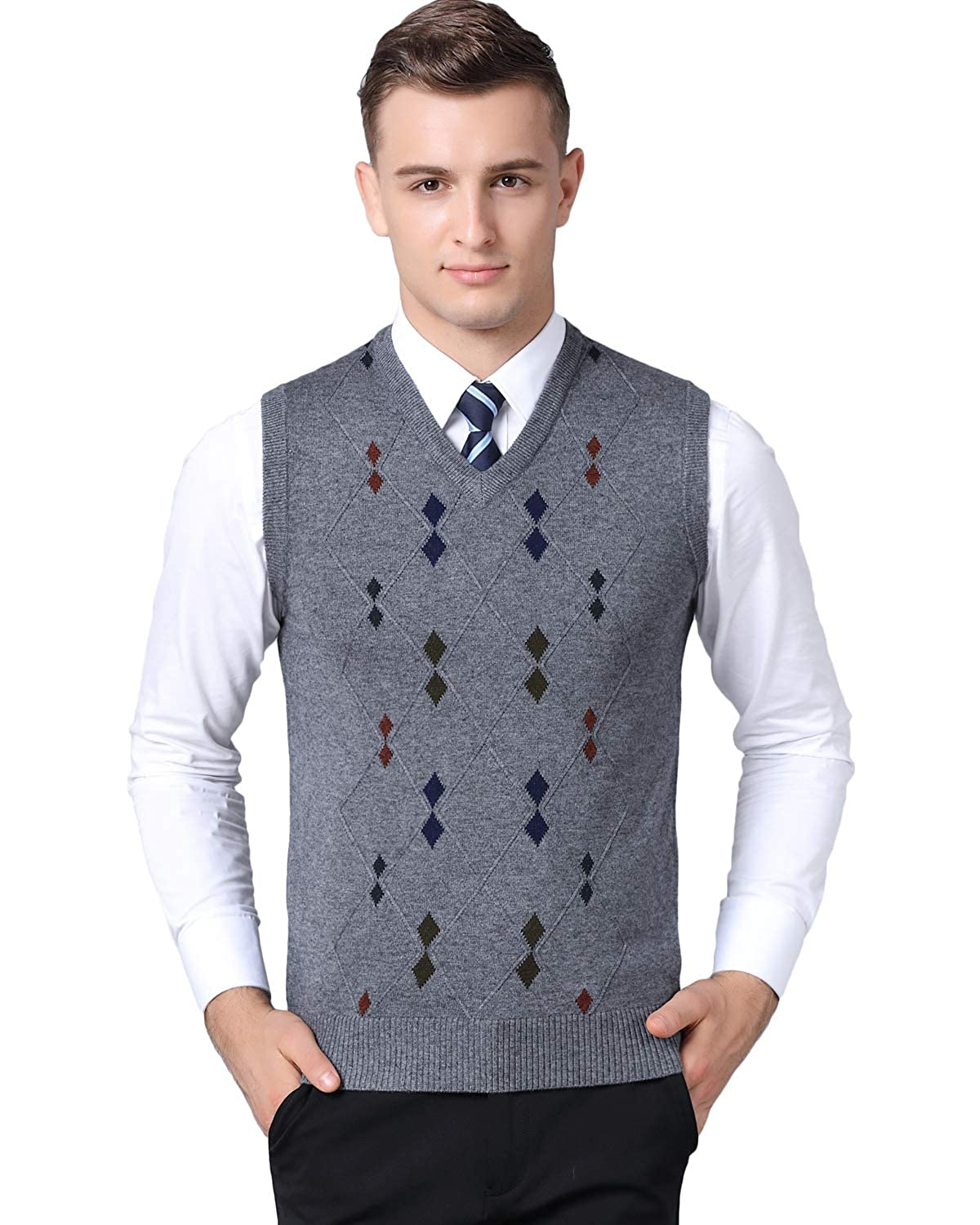 1950s Men's Clothing Homovater Classic Mens Gilet V-Neck Sleeveless Jumper Vest Knitwear Cardigans Knitted Waistcoat Sweater Tank Tops £17.99 AT vintagedancer.com