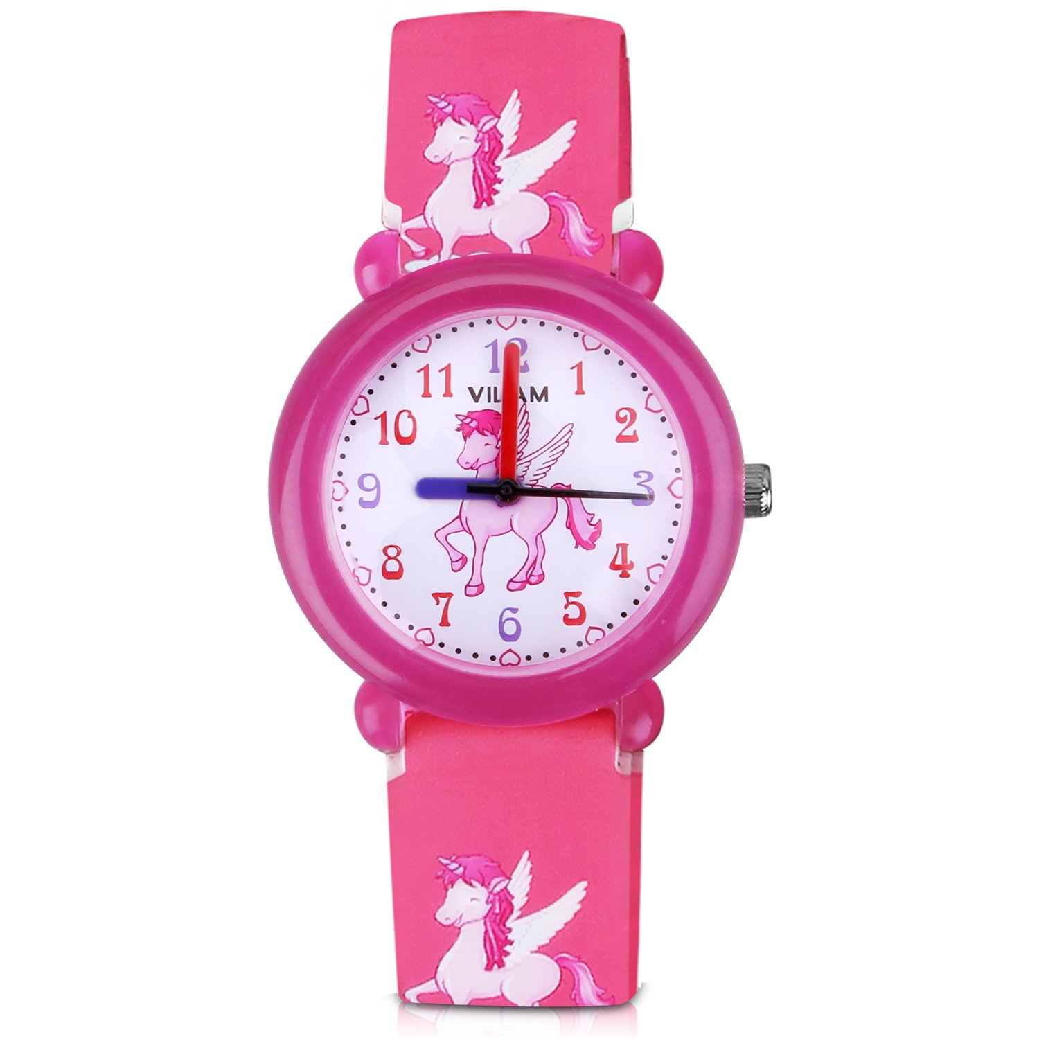 PerSuper Kids Watch 30M Waterproof teenagers Young Time Teacher Watches PU Band Children Cartoon Wristwatch Child Silicone Wrist Watches Gift for Boys Girls Little Child(pink) by PerSuper
