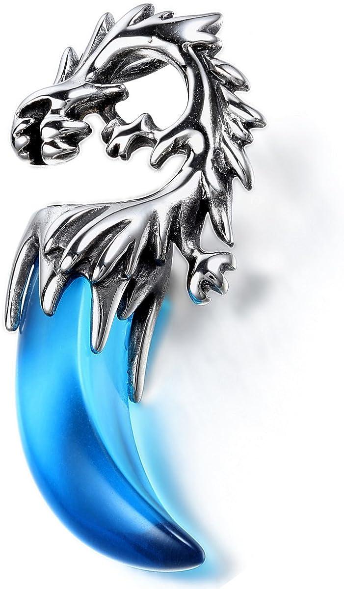 avec dragon Acier inoxydable Argent/é Bleu Oidea Collier pour homme avec pendentif tribal en forme de dent de loup