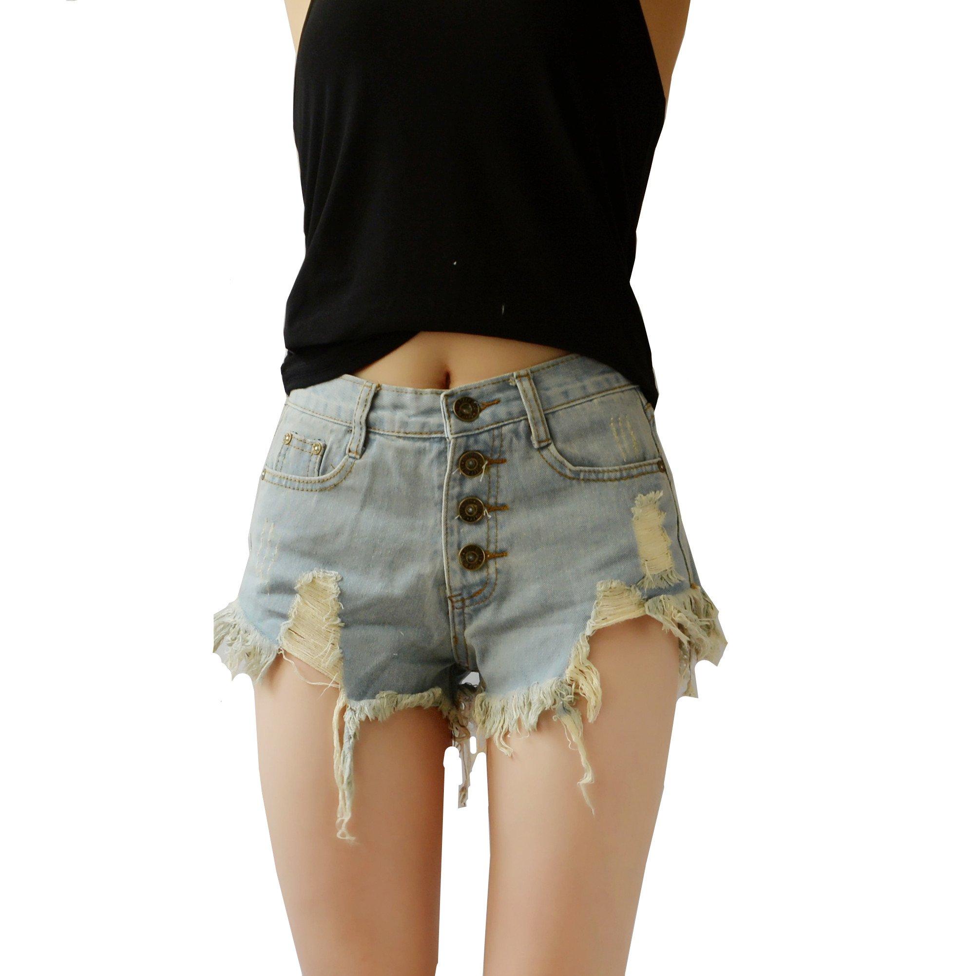 YSJ Women's Mid Waist Denim Shorts Retro Ripped Vintage Jeans Short (M, Jeans Light Blue)