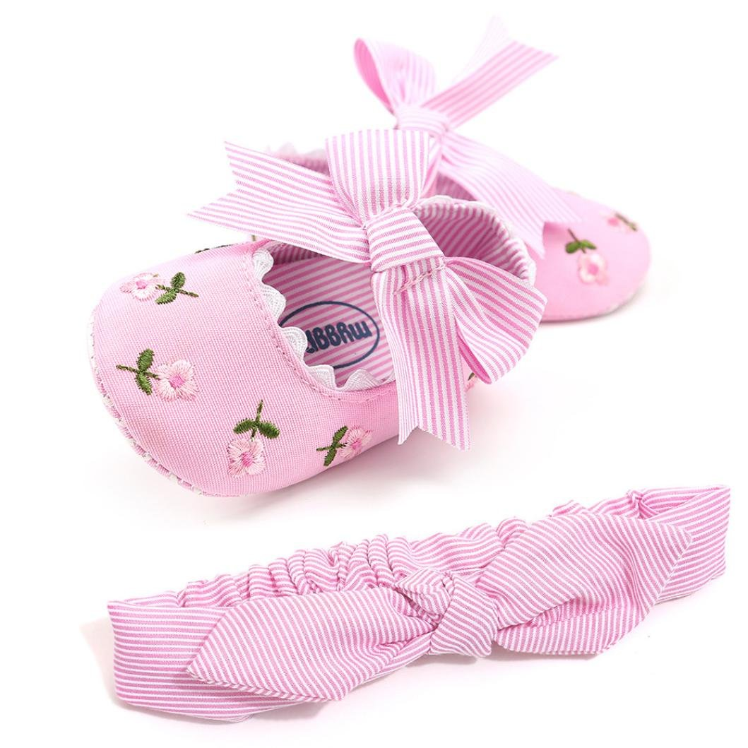 Voberry@ Baby Girl Embroidery Flower Shoe+1PC Hairband Bowknot Stripe Toddler First Walkers