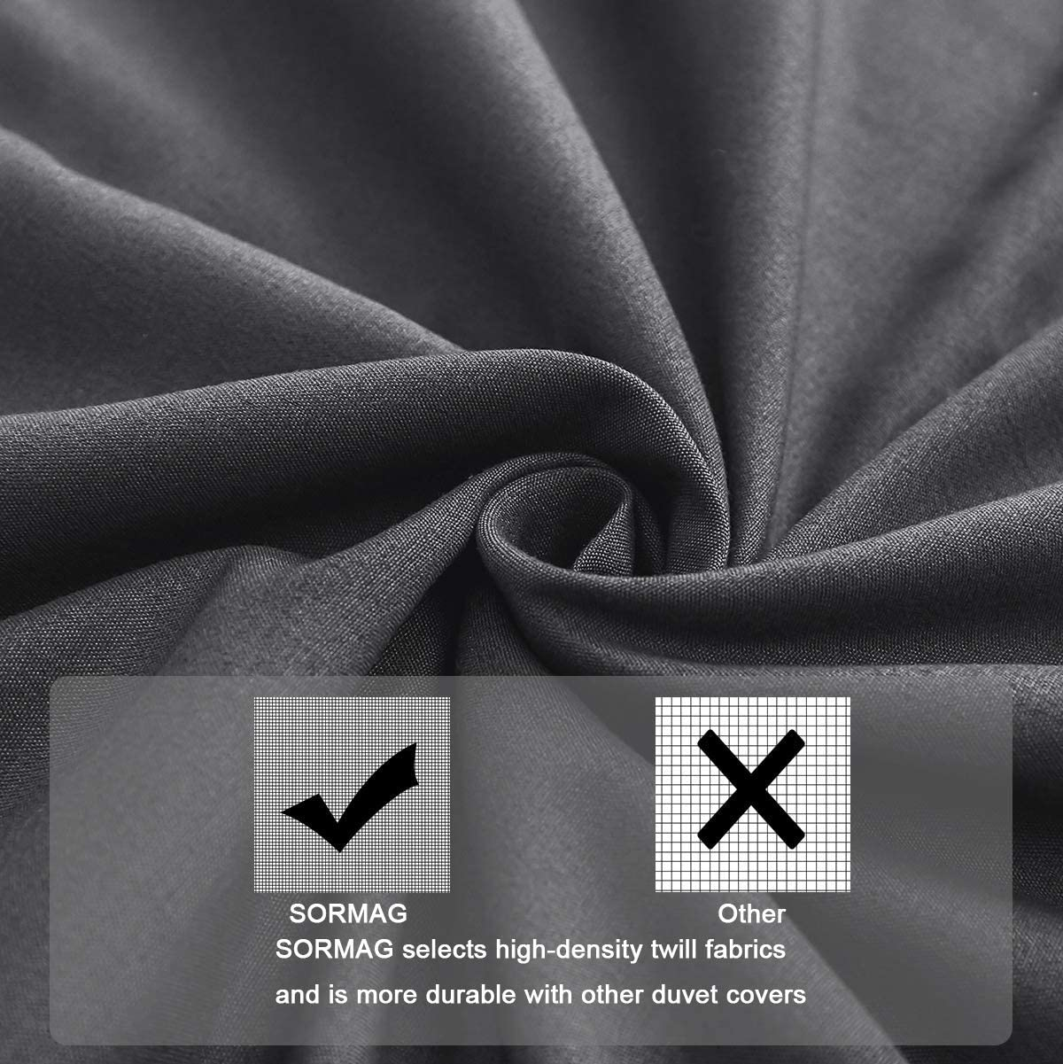 100/% Washed Cotton Solid Color and Ultra Soft with Zipper Closure Corner Ties Simple Bedding Style SORMAG Duvet Cover Twin Size 3 Piece Gray