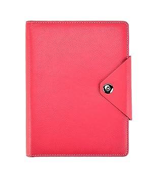 Arpan - Agenda personal, A5, cuaderno de renglones y tapas acolchadas con botón de cierre a presión, color hot pink A5