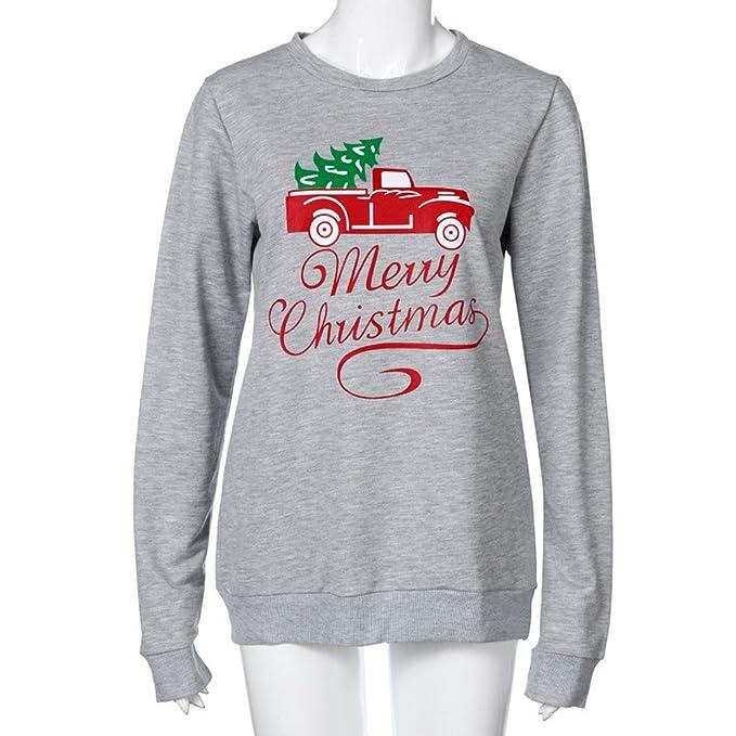 Hoplsen Feliz Navidad Moda Mujer Carta Merry Christmas Coche Impresión Camisa de entrenamiento Manga larga O