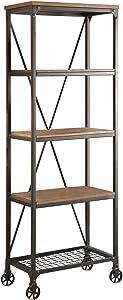 "HOMELEGANCE Wood and Metal Bookshelf, 26"", Brown/Black"