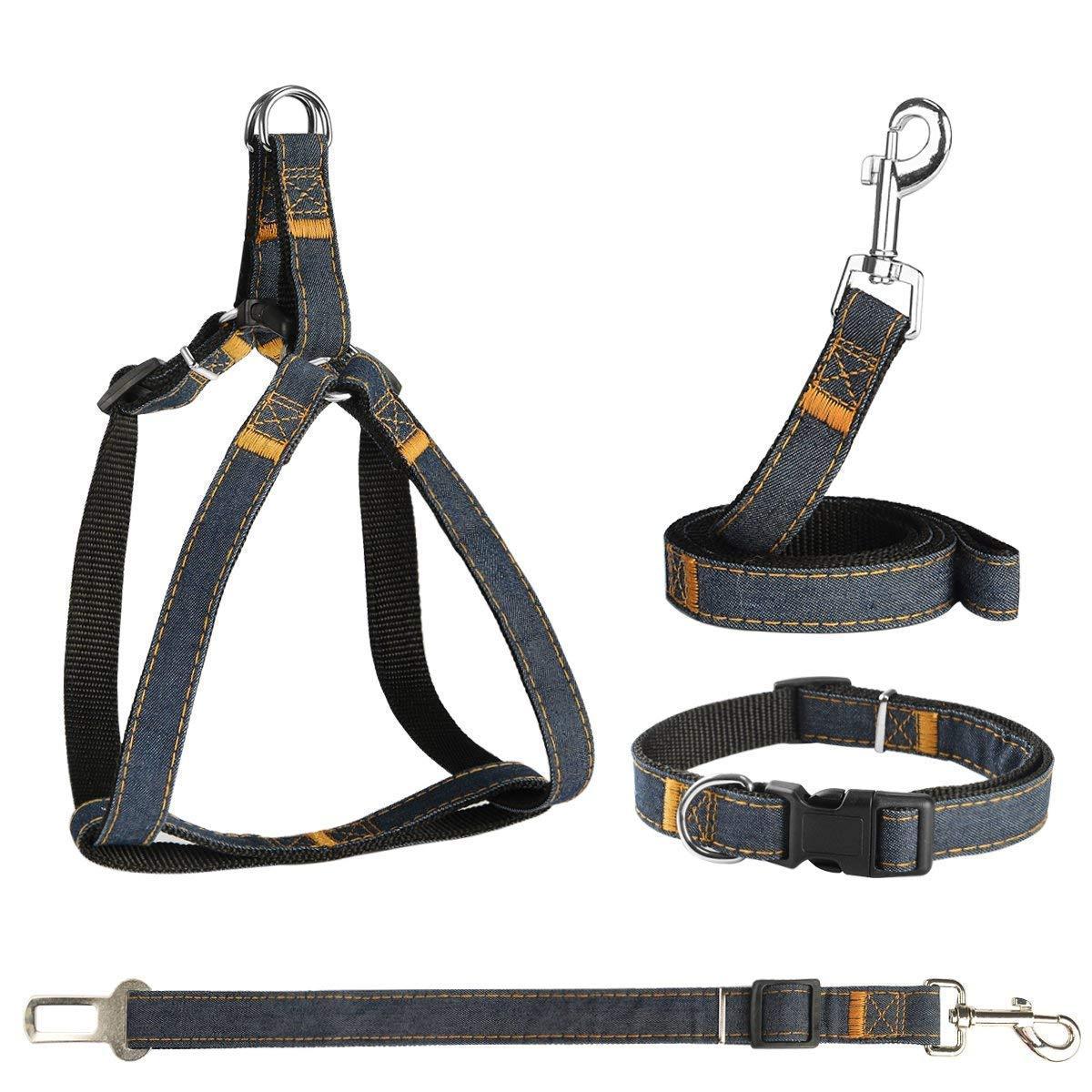 POWEROWL 4 in 1 Guinzaglio Regolabile per Cani, Guinzaglio Cintura di Sicurezza e Colletto Materiale Denim Comodo e Resistente per Cani Piccolo/Medi/Grande Set di 4 - S