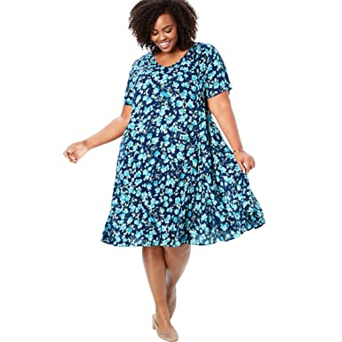 ef22e09006b Woman Within Plus Size Short Crinkle Dress - Evening Blue Blossom Floral