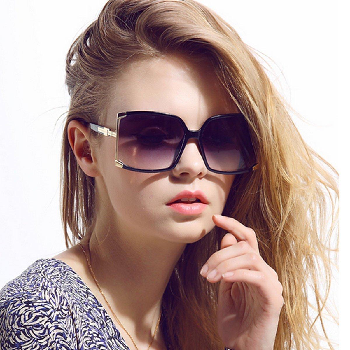 Aisa Women's Oversized Sunglasses 2016 New Fashion Square Frame Eyewear Goggles UV400 Protection Shiny Black