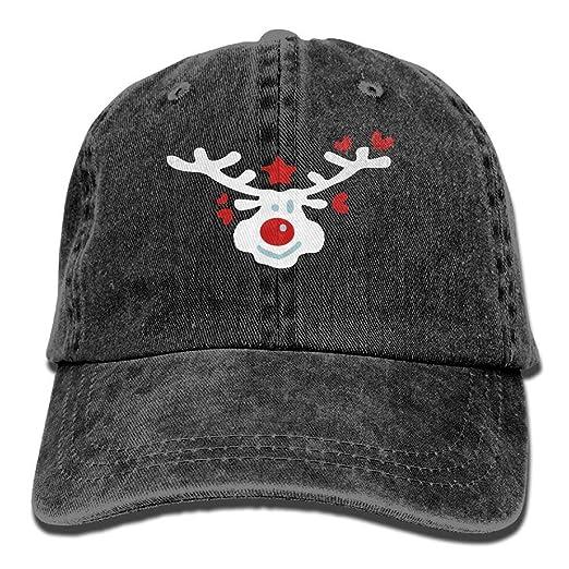 fd331e7e5eb Smiley Christmas Reindeer Unisex Yarn-Dyed Denim Baseball Cap Adjustable  Snapback Glacier Cap For Men women at Amazon Men s Clothing store